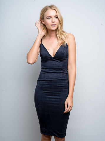 Suede Midi Dress Navy