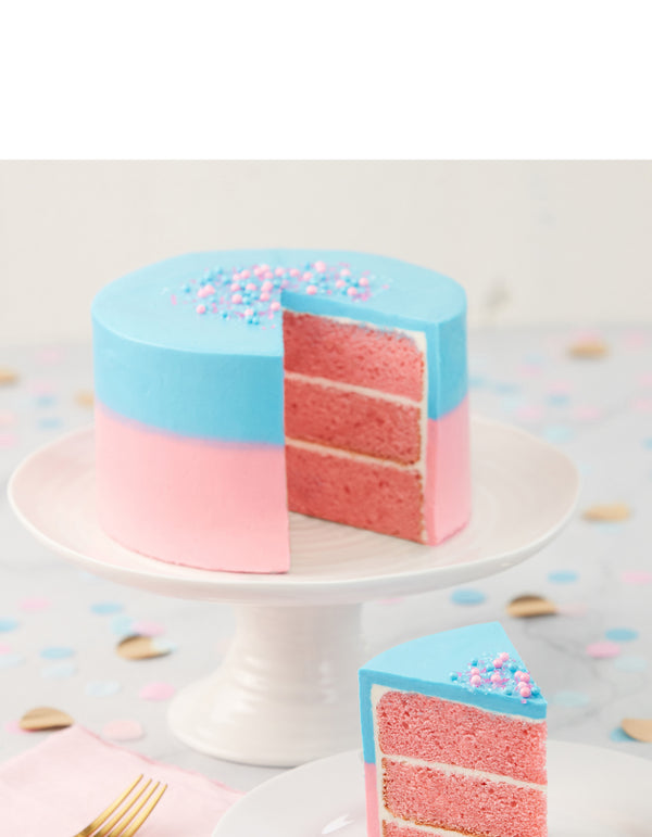 Gender Reveal Ombré Cake