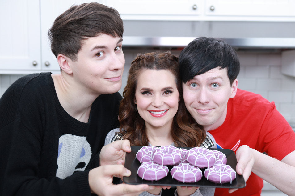 Dan & Phil join Rosanna Pansino to make Undertale Spider Donuts