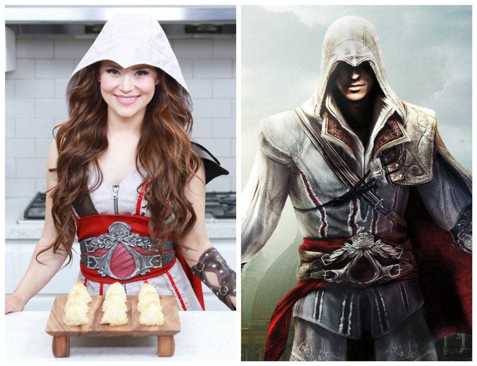 Rosanna Pansino dressed as 'Ezio' from Assassin's Creed