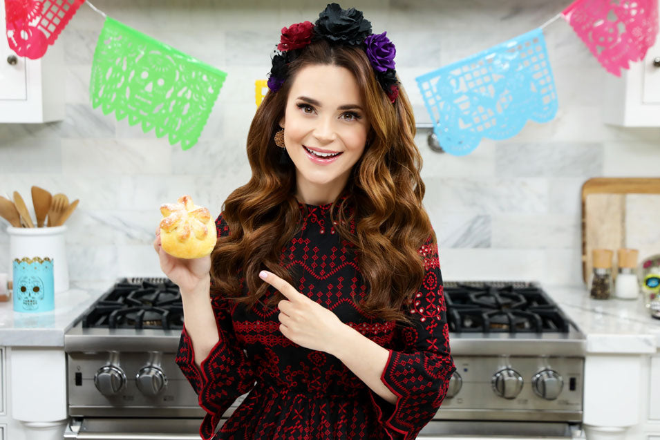 Rosanna Pansino makes Coco Day of the Dead Bread on Nerdy Nummies