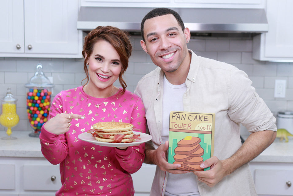 Rosanna Pansino and Dawin make Adventure Time Bacon Pancakes