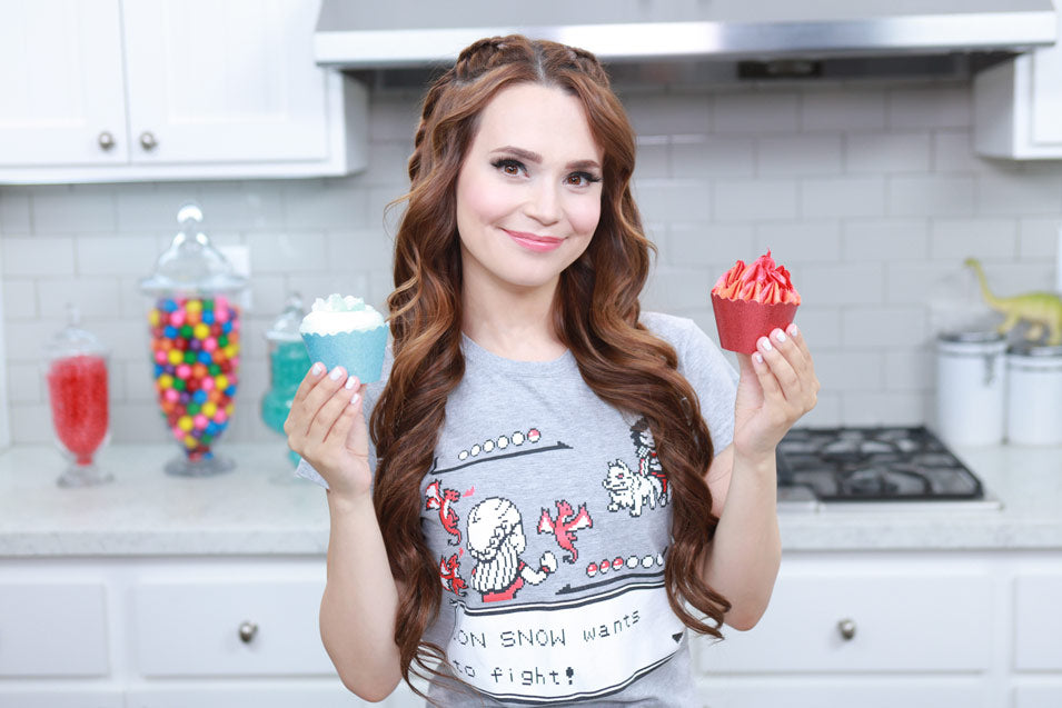 Rosanna Pansino makes Game of Thrones Ice and Fire Cupcakes