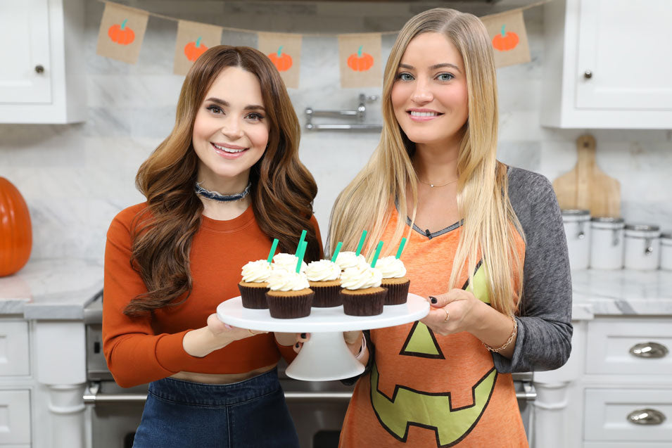 Rosanna Pansino and iJustine Make Pumpkin Spice Latte Cupcakes
