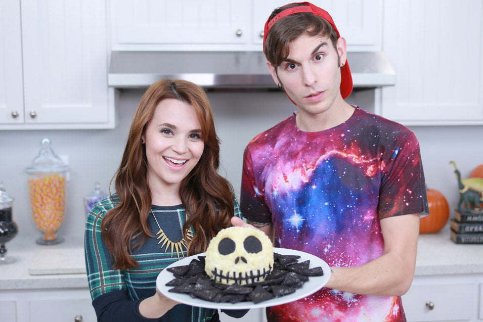 Rosanna Pansino and Jake Roper make a Jack Skellington Cheeseball