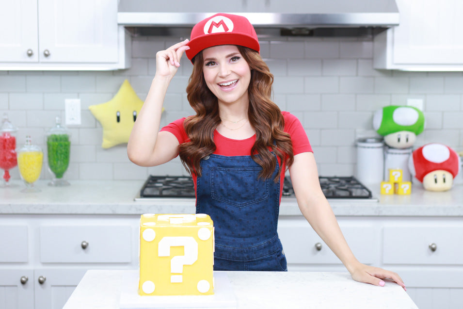 Rosanna Pansino makes a Mario Question Block Surprise Cake
