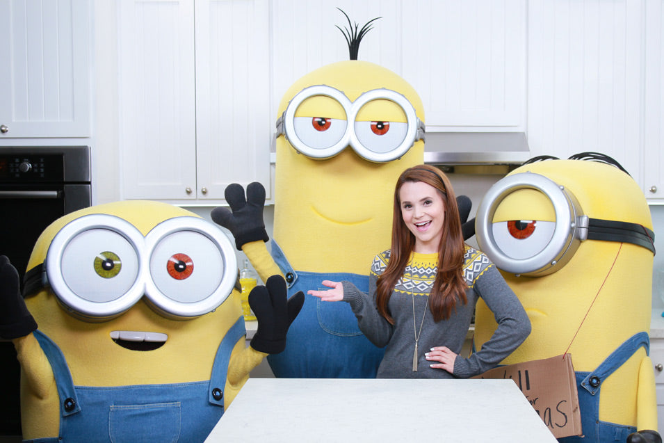 Rosanna Pansino hangs out with Kevin, Bob, and Stuart on Nerdy Nummies