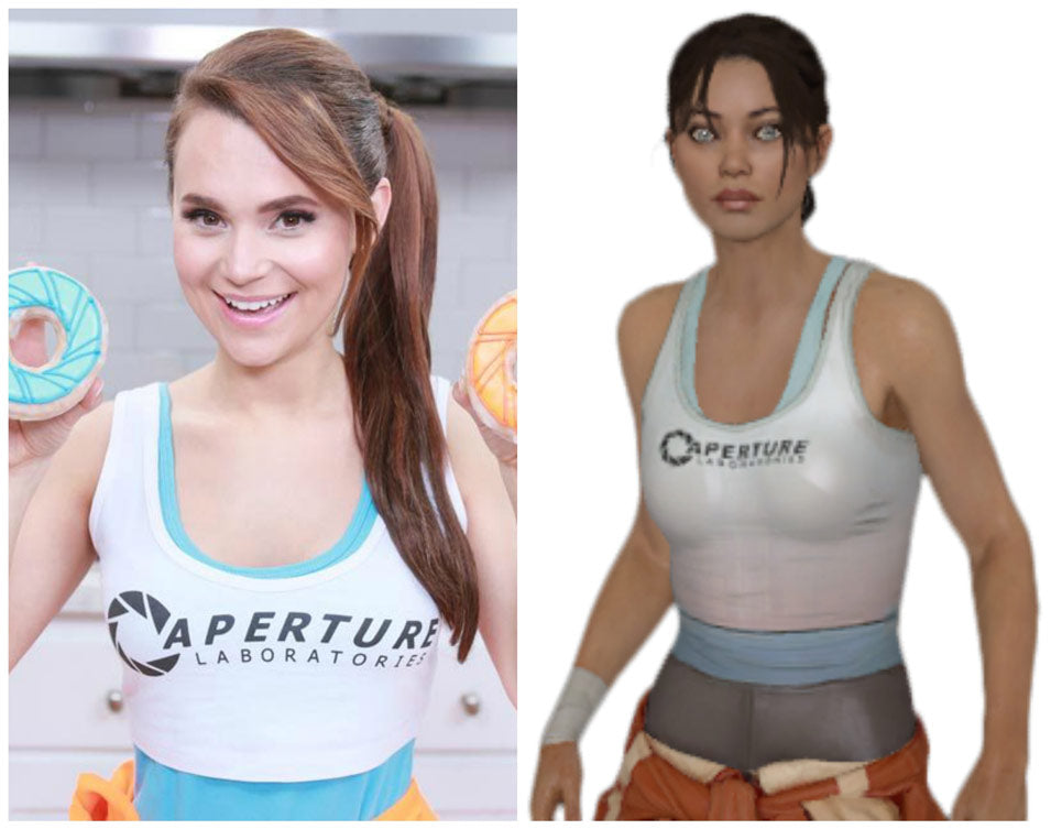 Rosanna Pansino dressed as 'Chell' from Portal