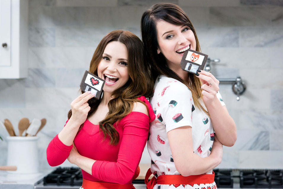 Rosanna Pansino and Sonja Reid make Floppy Disc Cookies