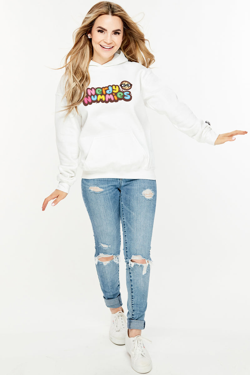 Nerdy Nummies Youth Hoodie - White