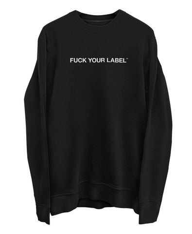 White Logo Print - Black Sweater