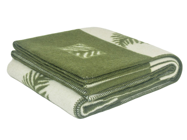 Green Leaf Wool Blanket - WOOLDIKE