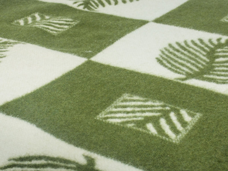 Green Wool Blanket with Scandinavian pattern - WOOLDIKE