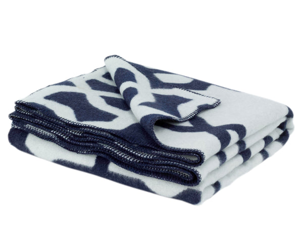 WOOLDIKE Wool Blanket Troy - Navy blue_1