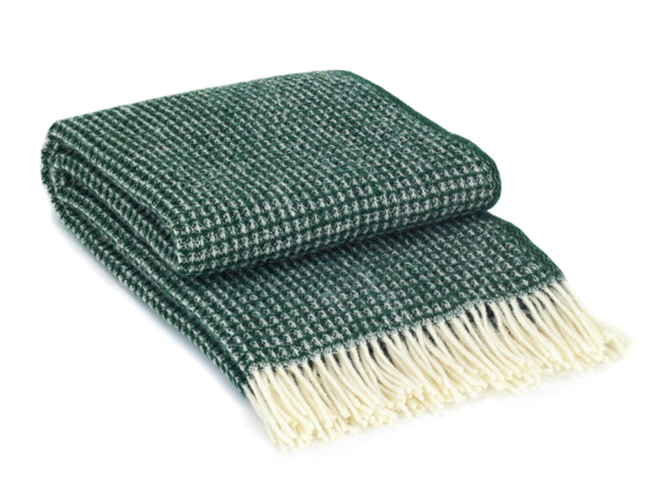 WOOLDIKE Waffle Throw Forest Green - pure wool