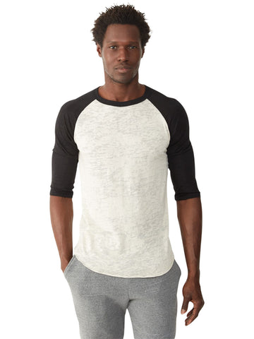 Alternative 2640 Traditional Burnout Baseball T-Shirt in Solid Sleeves