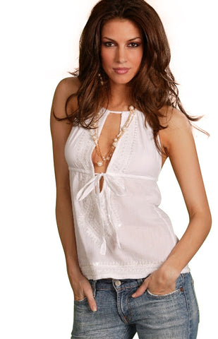 4710 Halter Back Camisole with Bead and Sequins Embroidery