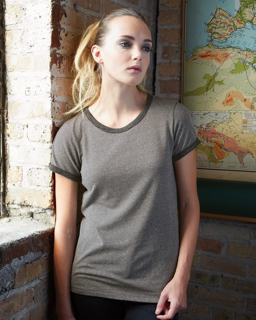 Alternative 1913 Short-Sleeve Ladies' Ringer Tee in Eco Mock Twist