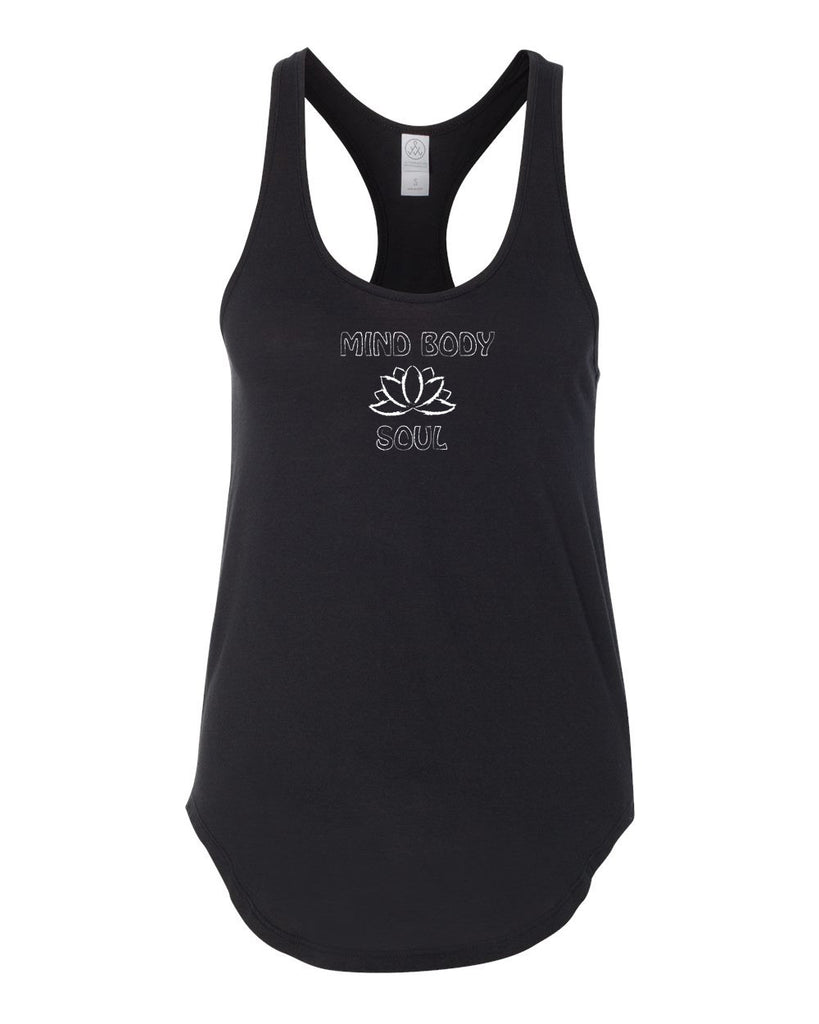 1533-MBS Yoga & Lotus Flower Racerback Mind Body and Soul Tank