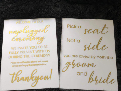 "Acrylic - 2 x  ""Choose a seat"" & Unplugged - More Colours available!"