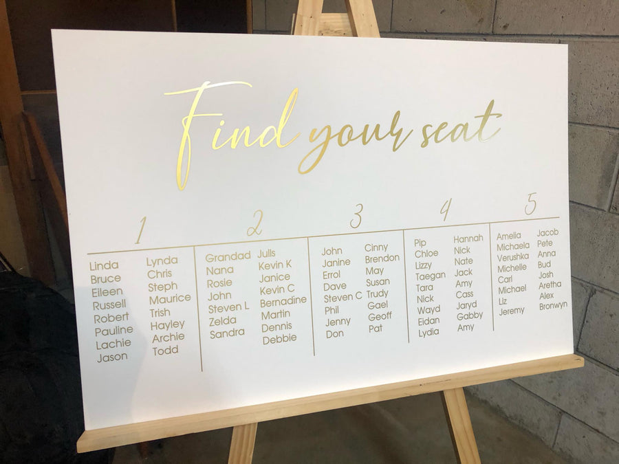 ACRYLIC -Nelly Basic seating chart - Your Colour Choice