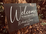 "Sandy Printed - Black ""wood"" Welcome Sign"