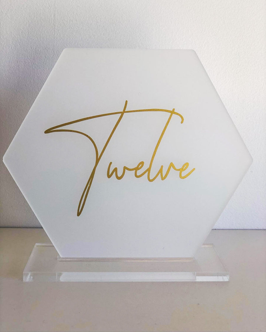 Acrylic Table Numbers - Hex