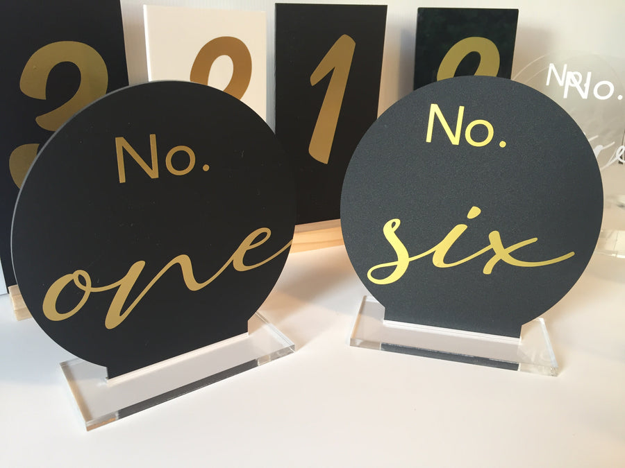Acrylic Table Numbers - Circle