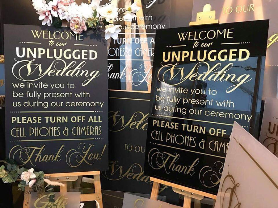 "Acrylic- Satin Black & Gold ""unplugged"" Sign"