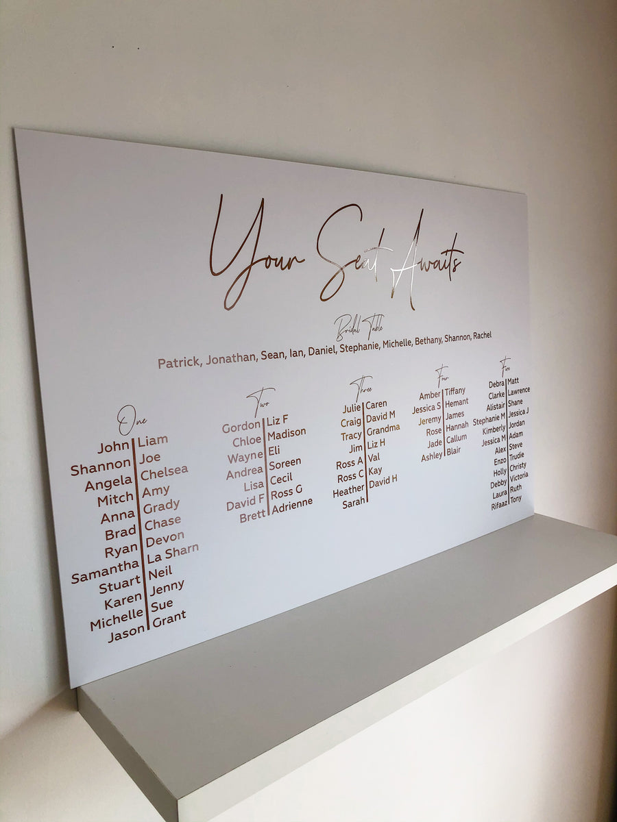 Acrylic- Prestige Basic seating chart - Your Colour Choice