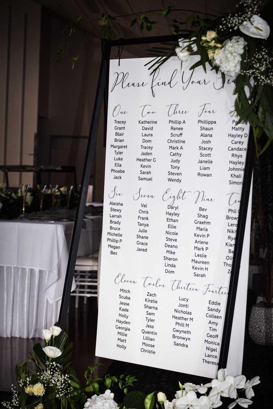 Printed - Seating chart - Adore