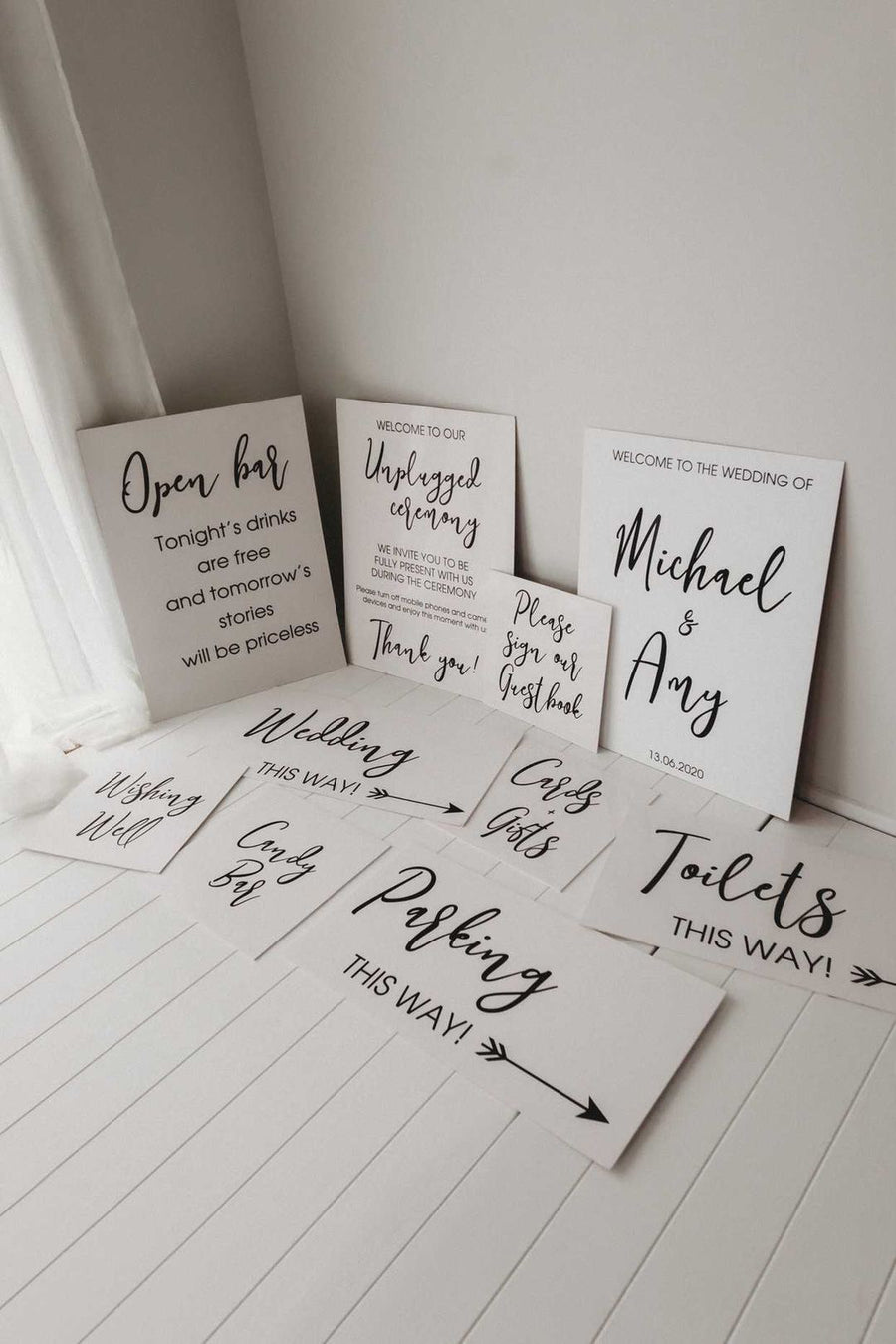 Printed 10 Sign Set - Mono - Your choice of Sandy or Prestige Fonts