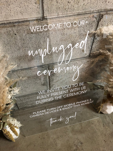 """unplugged"" Sign- CLEAR Acrylic"