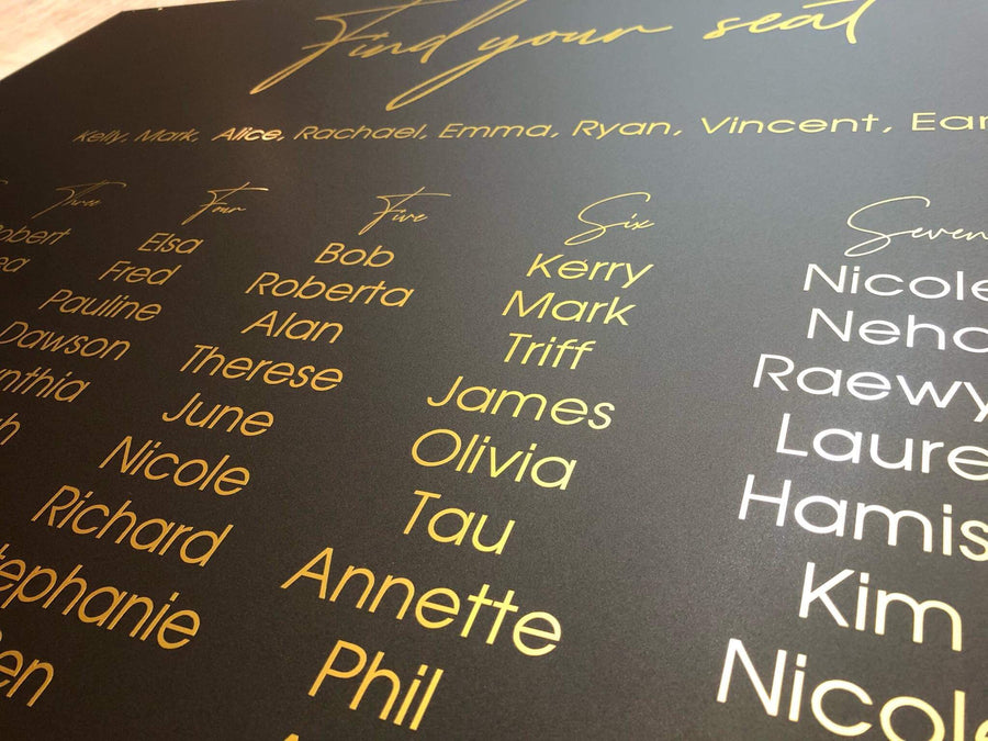 Acrylic - Kath Basic seating chart - Your Colour Choice