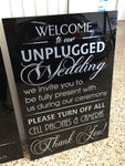 "Acrylic - Gloss Black & Silver ""unplugged"" Sign"