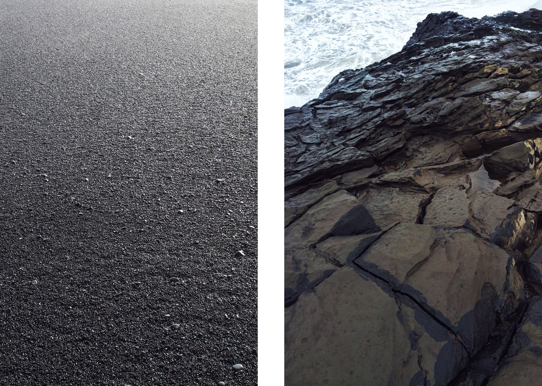 Black sand and rocks next to the sea