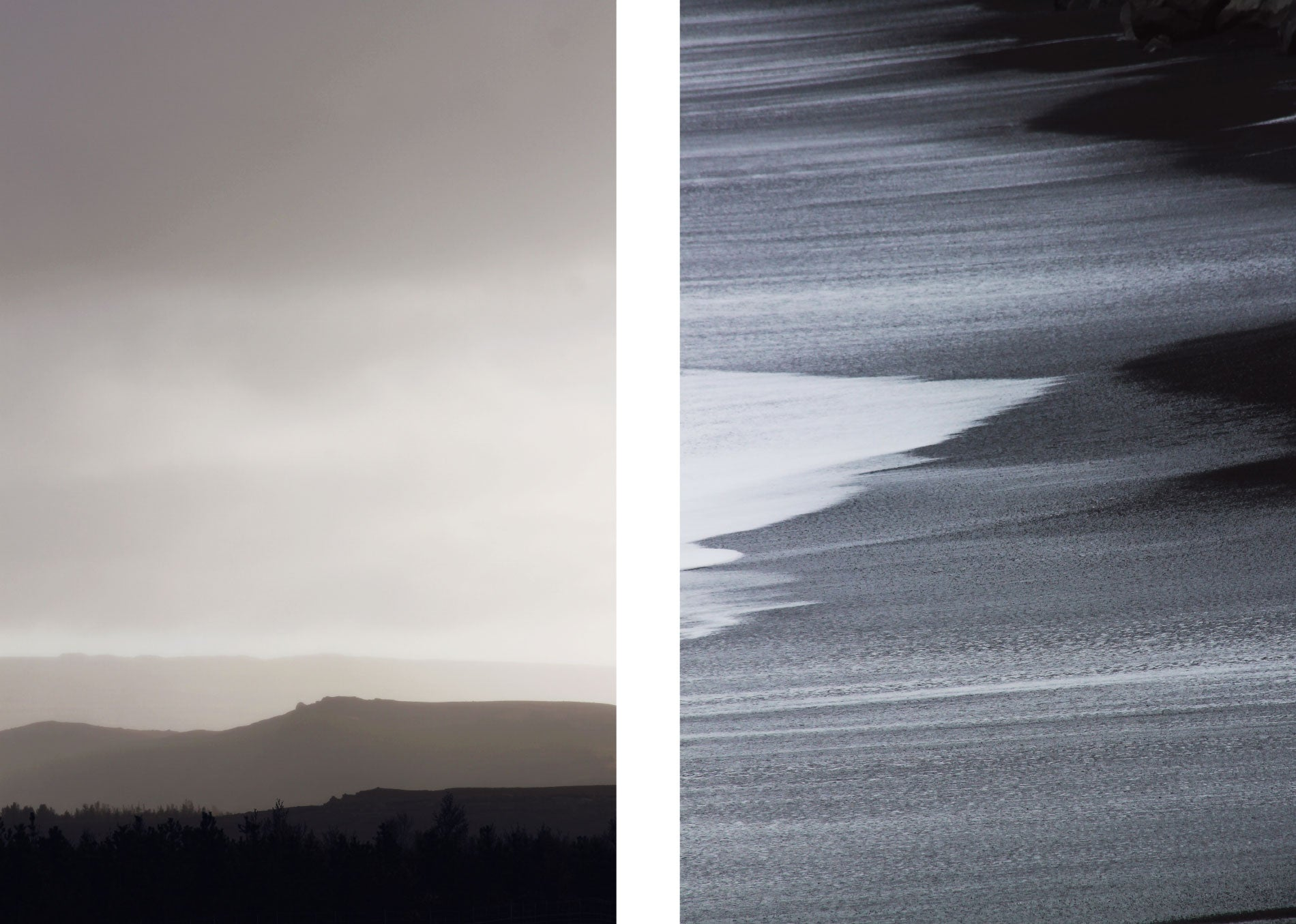 icelandic dawn light and black shores