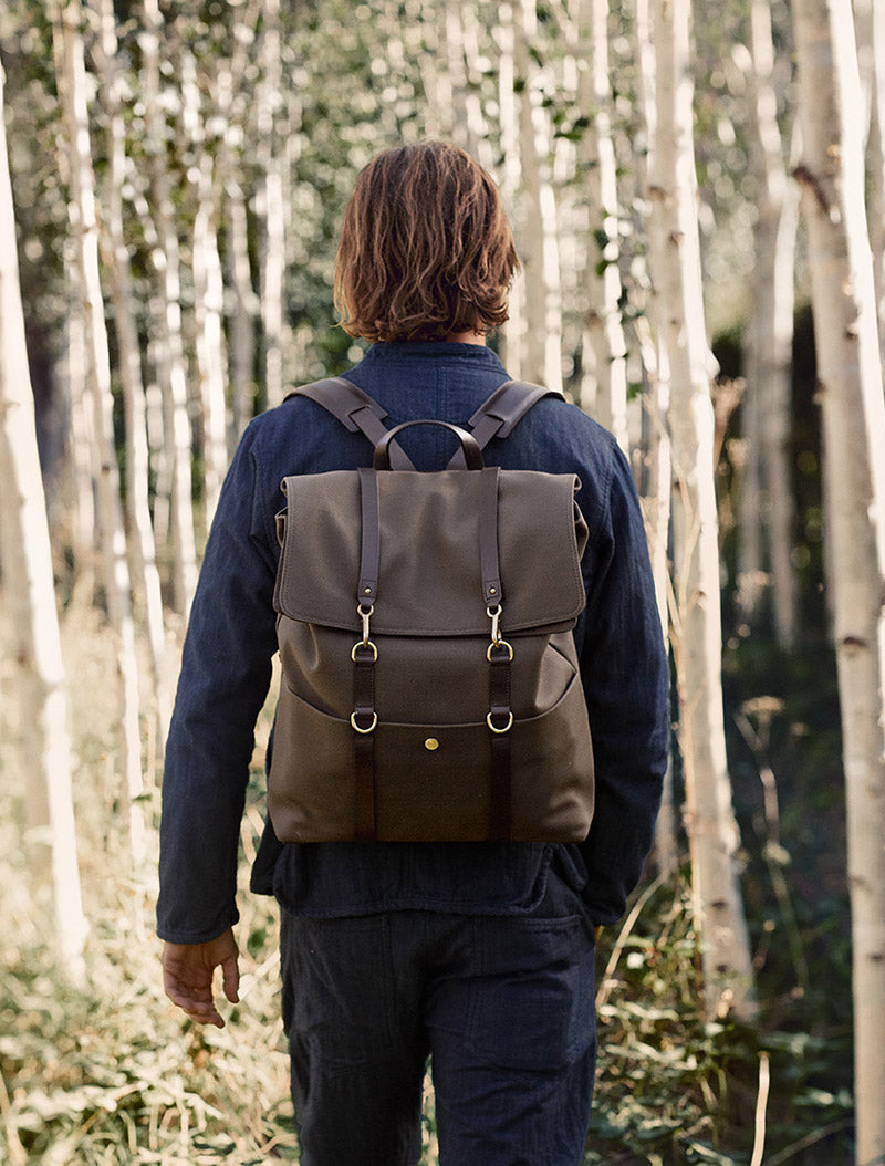 M/S Backpack – Army/Dark brown description image