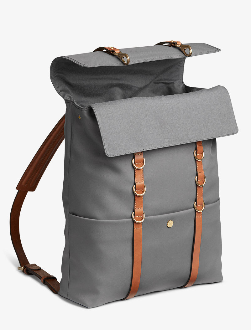 M/S Backpack - Concrete/Cuoio description image