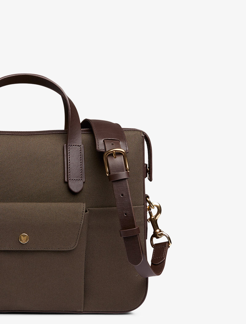 M/S Briefcase – Army/Dark brown description image