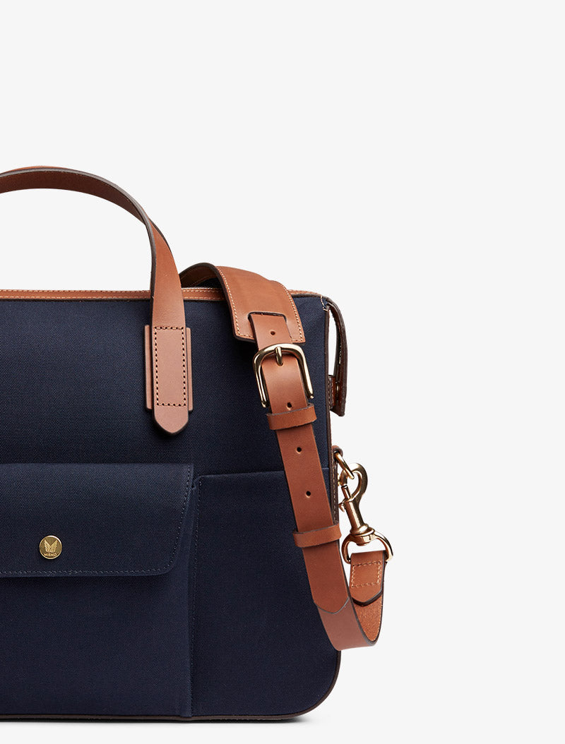 M/S Briefcase - Midnight blue/Cuoio description image