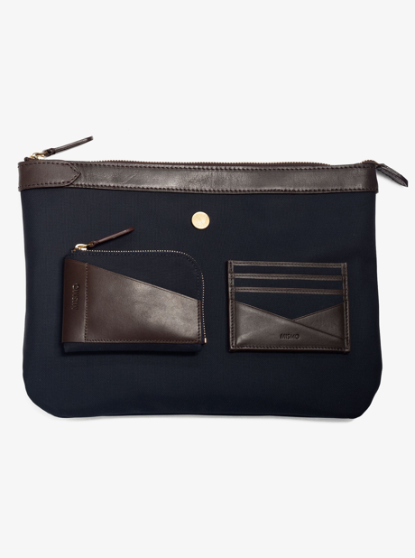 M/S Cardholder – Navy/Dark Brown description image
