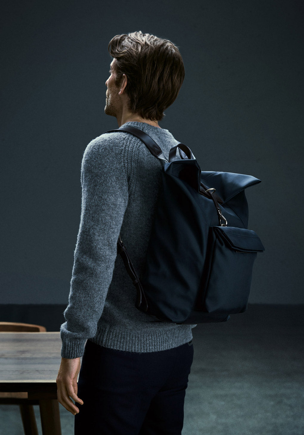 M/S Backpack – Navy/Dark brown collection 1