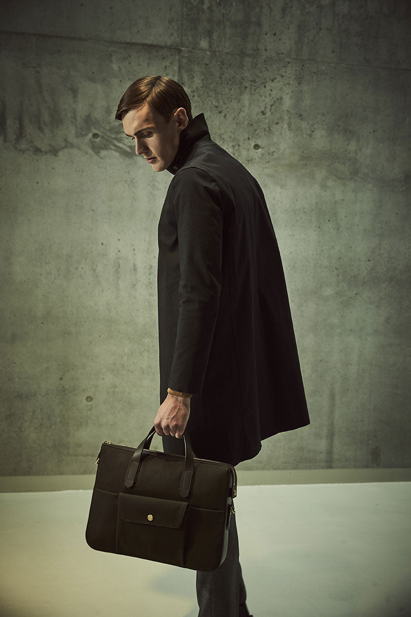 Mismo M/S Briefcase - Pine green/Dark Brown
