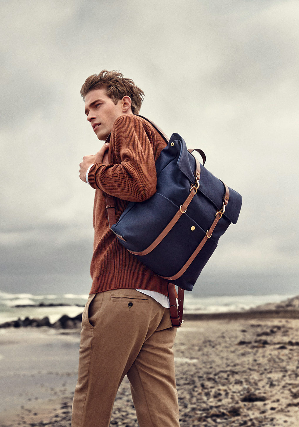 M/S Drop bag - Midnight blue/Cuoio collection 1