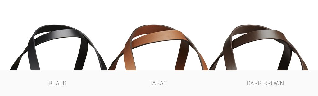 Mismo vegetable-tanned bridle leather in black, tabac and dark brown.