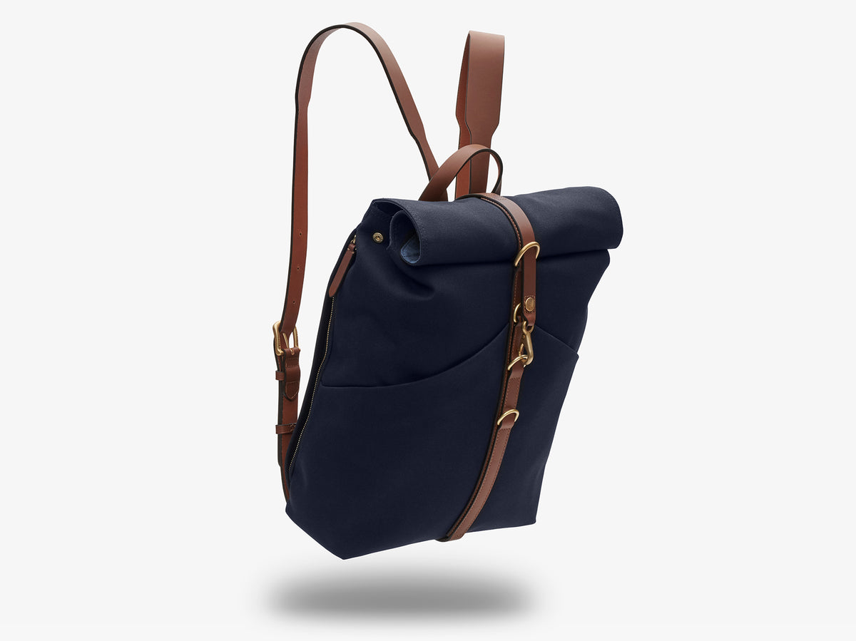 M/S Rucksack – Midnight blue/Cuoio description image