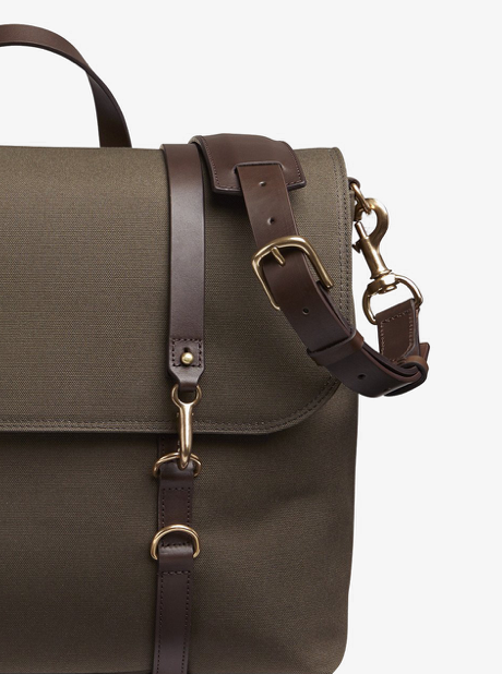M/S Satchel - Army/Dark brown description image