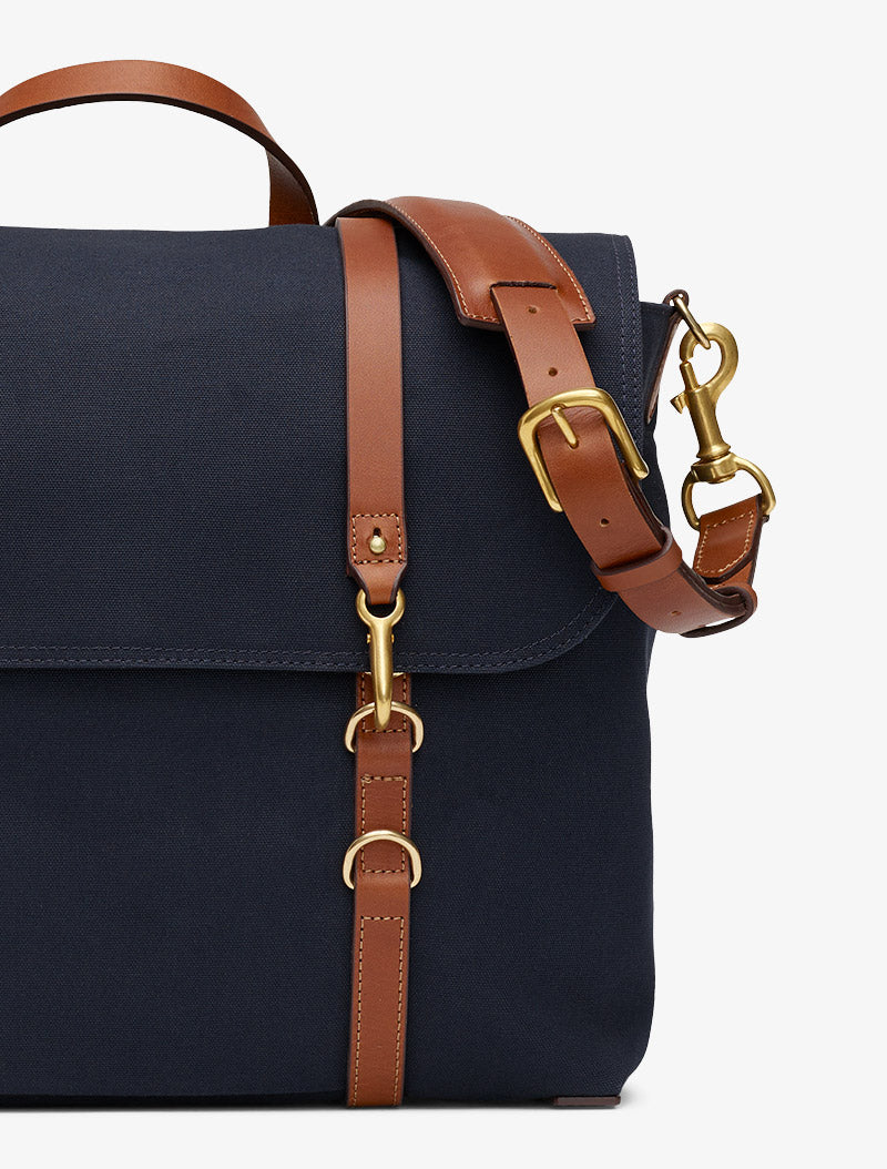 M/S Satchel - Midnight blue/Cuoio description image