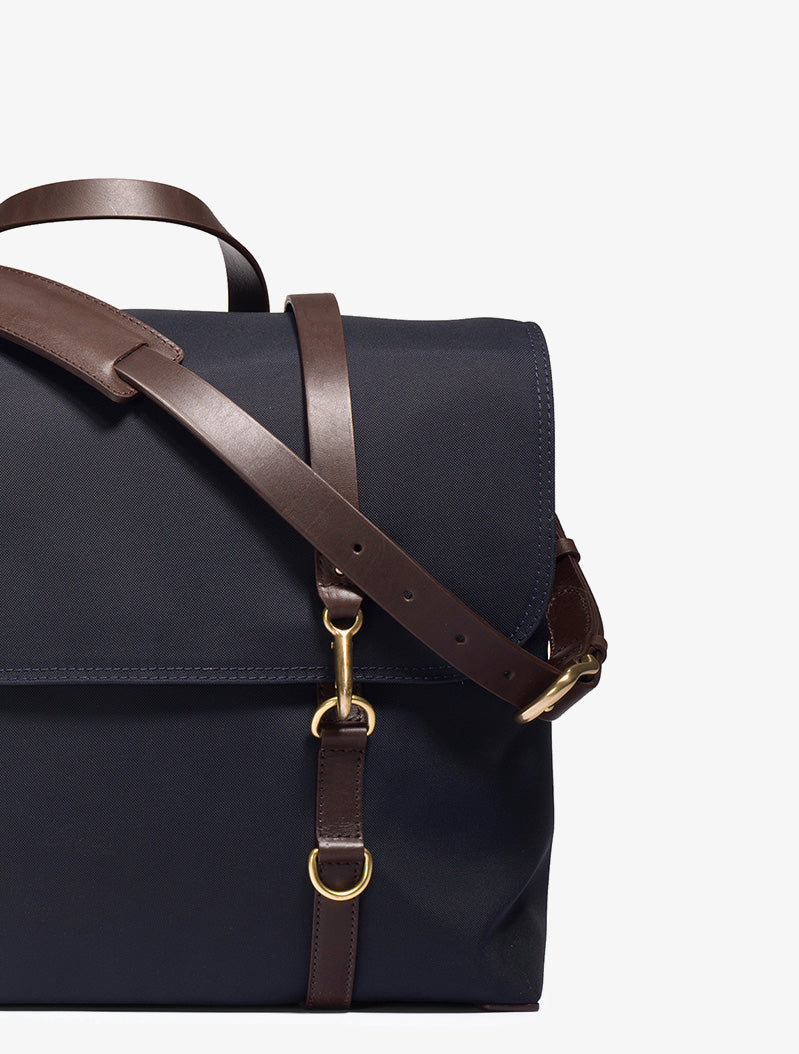 M/S Satchel – Navy/Dark Brown description image